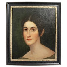 Victorian Portrait Painting of a Lady. Oil on Canvas