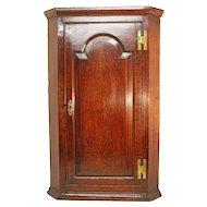 Antique Oak Corner Cupboard. 18th Century English Paneled Wall Cabinet