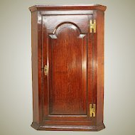 Antique Oak Corner Cupboard. 18th Century English Paneled Wall Cabinet