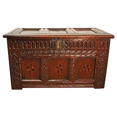 17th Century Antique English Oak Coffer. Small in size and beautifully carved.