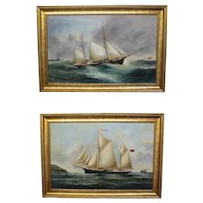 RESERVED FOR JACKIE. Pair of Marine Seascape Paintings. Artist: Reuben Chappell
