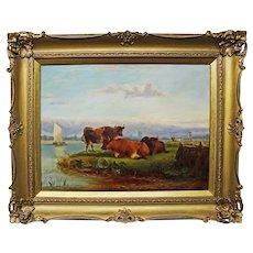 Cattle Landscape. Victorian Oil Painting.