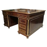 19th Century Antique French Empire Mahogany Pedestal Partners Desk. Office or Library Furniture