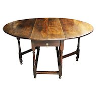 Antique 18th Century Oak Gate leg Dining Table. 6 seater Drop leaf Table.