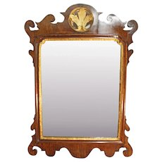 Georgian Antique Chippendale Crested Walnut Mirror. Pier Glass