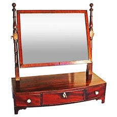 Georgian Antique Mahogany Toilet Mirror. Bowfronted Dressing Table Mirror with drawers