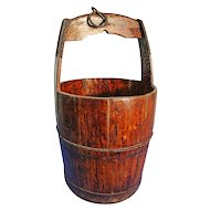 Antique Iron Bound Wooden Well Bucket. French, 19th C Water Pail.