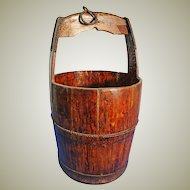 Iron Bound Wooden Well Bucket. French, 19th C.