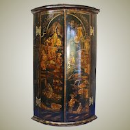Georgian Lacquered chinoiserie Corner Cupboard
