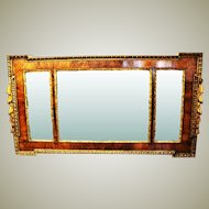 Victorian Walnut and Gilt wood Landscape Overmantle Mirror