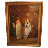 Large Oil On Canvas - Romantic, Garden Scene