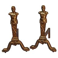 Pair of Antique Cast Iron Firedogs or Andirons.