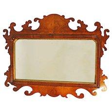 Antique Victorian Walnut Fretwork Wall Mirror