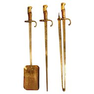 Steel and Brass Bayonet Fire Irons.