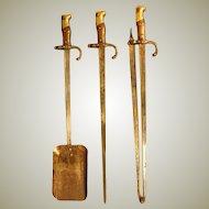 Steel and Brass Bayonet Fire Irons.