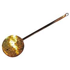 Georgian Brass and Iron Strainer or Skimmer