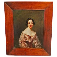 Victorian Portrait Painting of a Lady. Antique Oil on Canvas