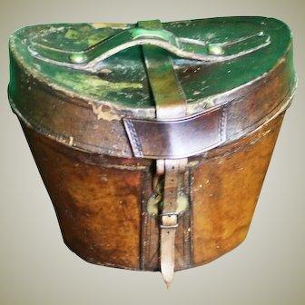19thC Leather Hat Box. Vintage Luggage Case