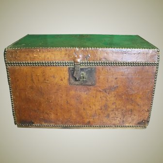Georgian Antique Leather Trunk. Luggage, Document Chest