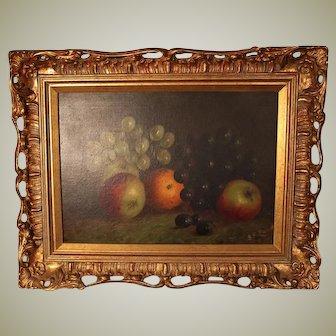 19th Century Oil on Canvas. Still life of Fruit