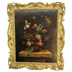 Antique Still Life Painting of Flowers - Oil Painting on Canvas.
