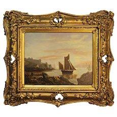 Victorian Marine Oil Painting. Fishing Boats Devon Coast.