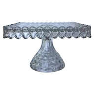 Fostoria American Square Clear Pedestal Glass Cake Stand