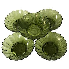 Set of 5 Anchor Hocking Country Garden Green Bowls ~  Green glass floral bowls