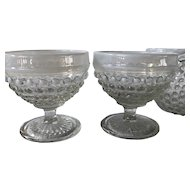 1940s Anchor Hocking Moonstone Clear Opalescent low champagne / sherbet goblets ~ hobnail goblets with a white pearl rim