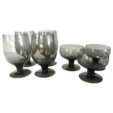 7 Piece vintage goblet set ~ 4 smokey grey water goblets and 4 champagne goblets ~ Modern Danish Glassware
