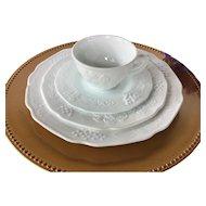 16 pc Vintage white milk glass dinnerware set: dinner plate, salad plate, cup saucer ~  Colony Harvest Milk glass dish set