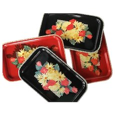 Set of 4 vintage metal floral trays ~ Mid Century metal serving trays black and red