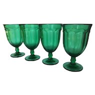 Set of 4 Noritake Provincial Emerald Green Ice Tea Goblets