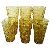 9 pc Vintage Lido Milano Amber Glass Tumblers - Vintage 1960's Anchor Hocking amber crinkle glass set