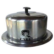 Vintage Aluminum Silver West Bend Cake Carrier ~ Mid Century metal cake carrier