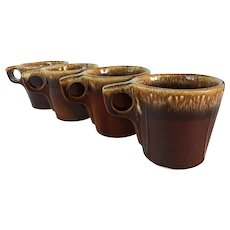 Set of 5 vintage Hull pottery brown drip mugs ~ mid century Hull chunky mugs ~ 1960's dinnerware