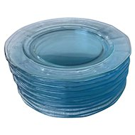 "Set of 10 Fostoria Fairfax azure blue 7 1/2"" salad plates - 1920s 1930s 1940s Blue Depression Dessert plates"