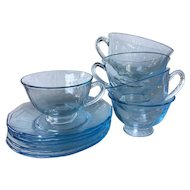 1930s Fostoria Fairfax azure blue footed cup and saucer - Blue Depression glassware