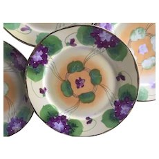 6 Antique Nippon Handpainted Purple Floral violets China Plates with gold trim