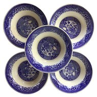 Set of FIVE 1950s  Blue Willow Fruit / Dessert bowls by Royal China