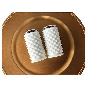 Pair of TWO Fenton White milk glass Hobnail shakers ~ 1960s