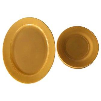 7 piece set of Hazel Atlas Ovide Butterscotch salad plates & oval platter 1940s  1950s