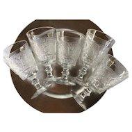 Set of FIVE 1940's Duncan Miller Sandwich Water Goblets - Clear Scroll Design