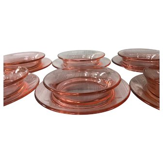 1920s Priscilla Pink by US GLASS Breakfast Bowl with Attached Underplate