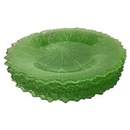 6 Vintage Pebble Leaf Green Salad Plates by Indiana Glass ~ green depression glass plates
