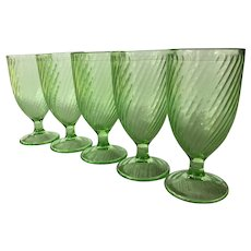 5 vintage Federal Galass Twisted Optic 8 ounce goblets ~ green depression swirl goblets