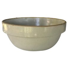 Vintage Primitive Stoneware Crock Bowl ~ grey stoneware crock bowl