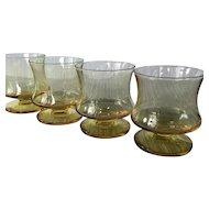 4 vintage Seneca Yellow Fashionables Old Fashioned glasses