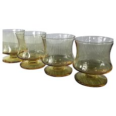 4 vintage Seneca Yellow Fashionables Old Fashioned glasses