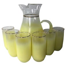 Blendo Frosted Pitcher and 6 tumblers by West Virginia Glass ~ Blendo Glassware highball frosted yellow with gold accents